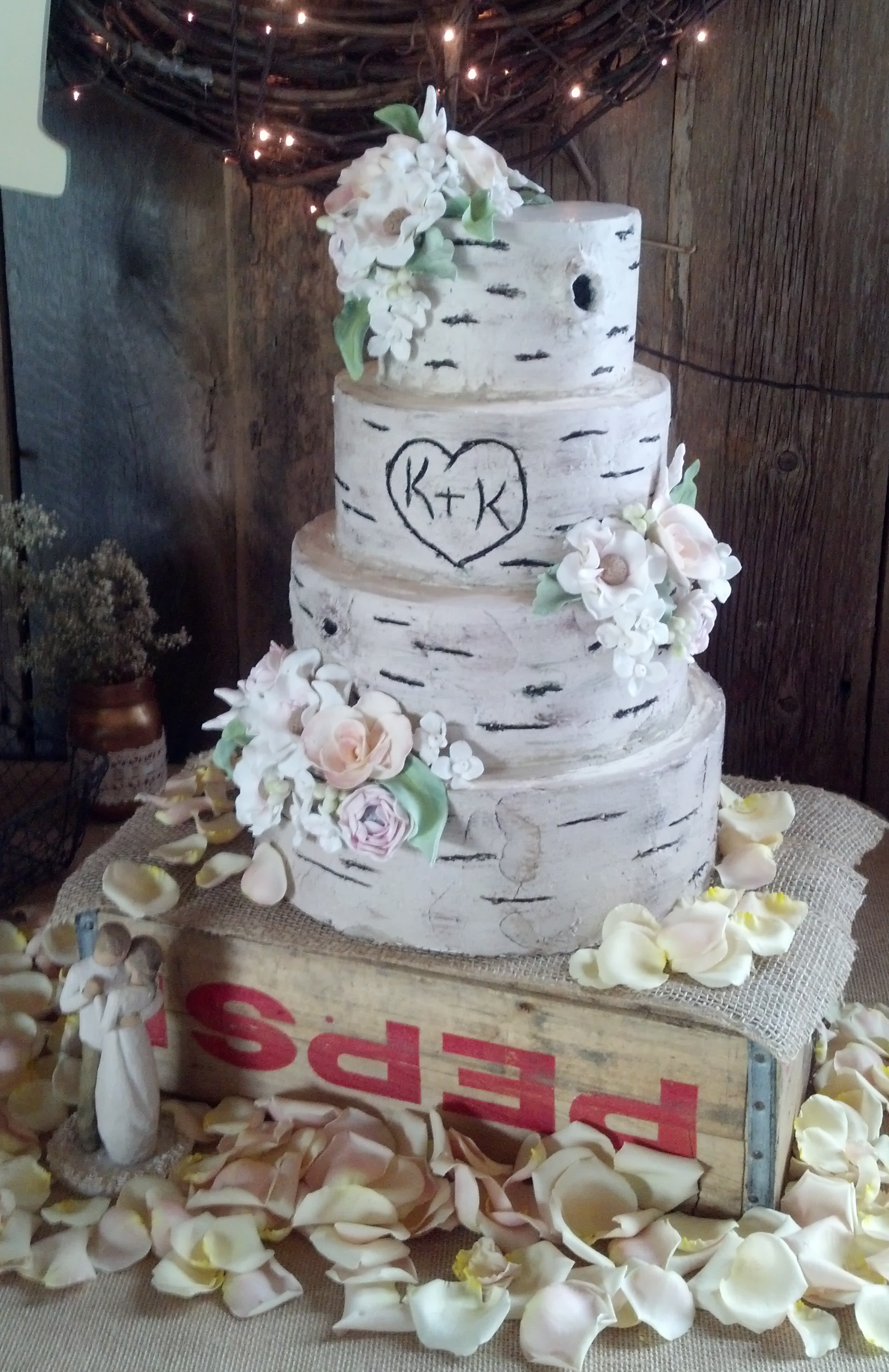 Fresh Flowers On Birch Tree Wedding Cake