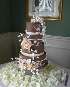 Chocolate Fondant wrapped Wedding Cake with Custom Handmade Sugar Flowers